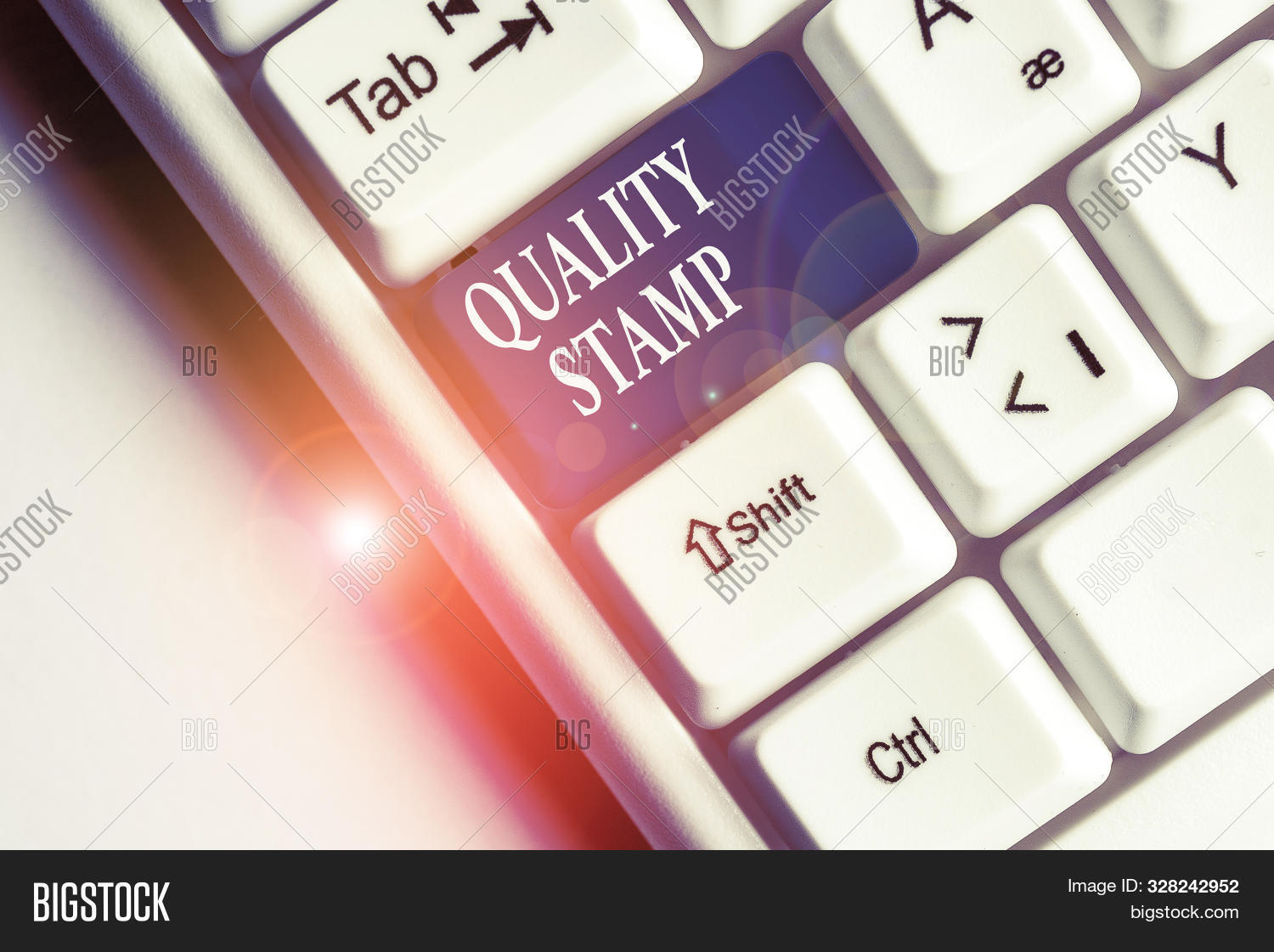 Text sign showing Quality Stamp. Conceptual photo Seal of Approval Good Impression Qualified Passed Inspection White pc keyboard with empty note paper above white background key copy space.