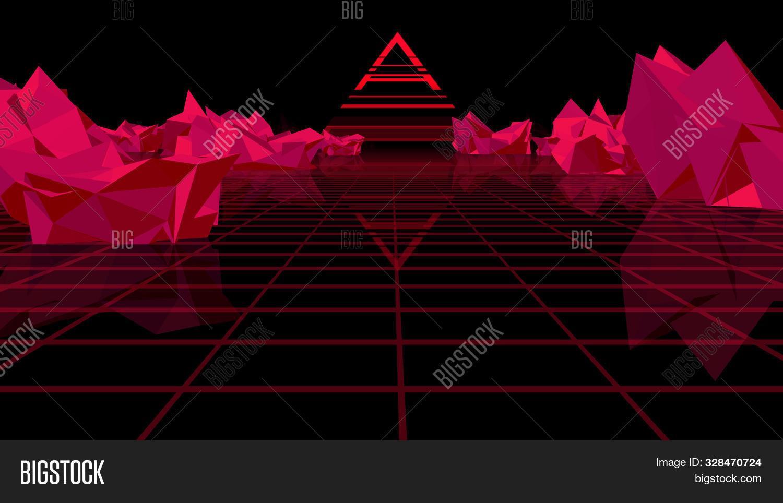 3d Rendering Retro Futuristic Bright Background With A Grid. 80s Graphic Design, Retro Fantasy. The