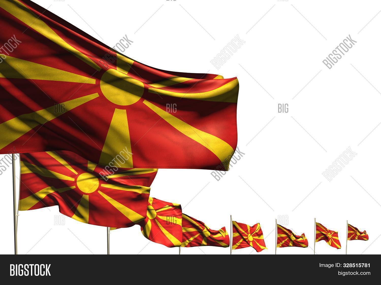 Wonderful Celebration Flag 3d Illustration  - Many Macedonia Flags Placed Diagonal Isolated On White
