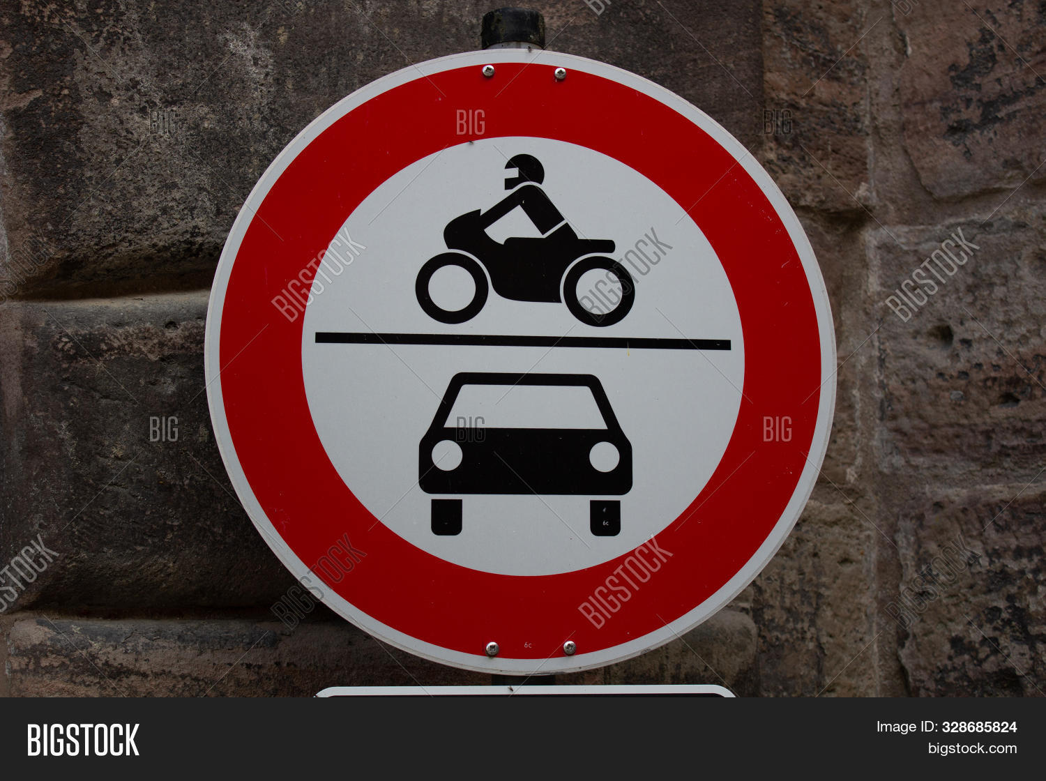 Old Fashioned Traffic Sign No Motor Vehicles Cars And Motorbikes, In Germany