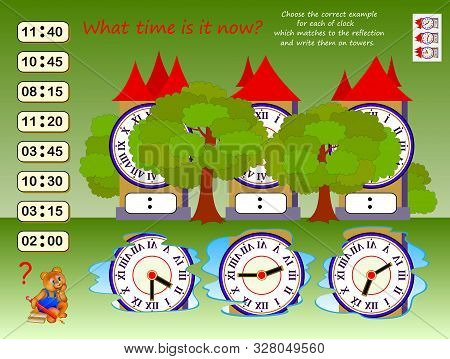 Logic puzzle game for children. What time is it? Choose correct example for each clock which matches to reflection, write them on towers. Kids brain teaser book. Spatial thinking skills. IQ test. stock photo