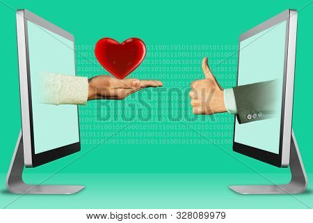 electronic concept, hands from computers. heart and thumbs up, like . 3d illustration stock photo