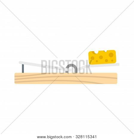 Mouse trap cheese icon. Flat illustration of mouse trap cheese vector icon for web design stock photo