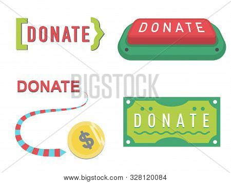 Donate buttons set. Help icon donation blood. Gift charity. Isolated support design sign. Human hand. Contribute, contribution, give money, coins, bank note, donate symbol. Vector illustration donate stock photo
