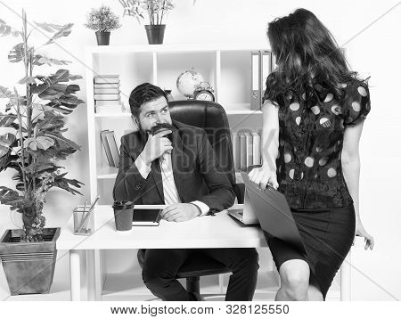 Job and career. Business couple working office. Business people. Couple in office. Successful business team. Man and attractive woman. Boss manager director and ceo position. Business man secretary. stock photo