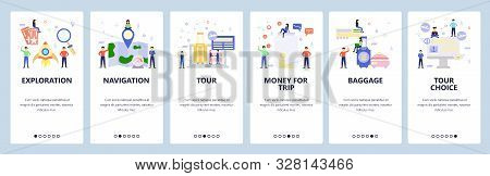 Mobile app onboarding screens. Vacation and air travel icons, book tour package, map, baggage. Menu vector banner template for website and mobile development. Web site design flat illustration stock photo