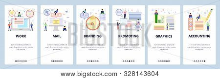 Mobile app onboarding screens. Business work process, branding and marketing, accounting. Menu vector banner template for website and mobile development. Web site design flat illustration stock photo