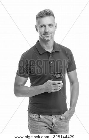 Enjoying his cappuccino. Drink it on the go. Man prefer coffee take away. Mature man hold paper coffee cup stand white background. Guy casual outfit drinking coffee. Delicious fresh coffee concept. stock photo
