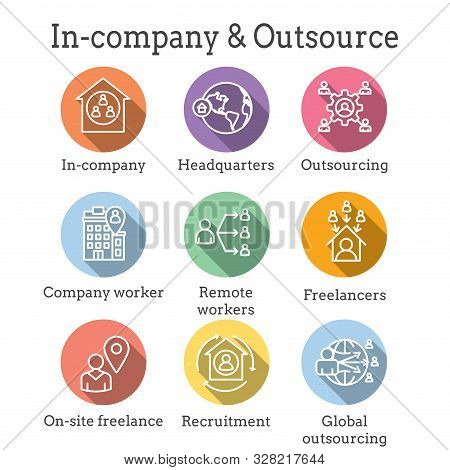 Inhouse Outsource Icon Set and Web Header Banner stock photo