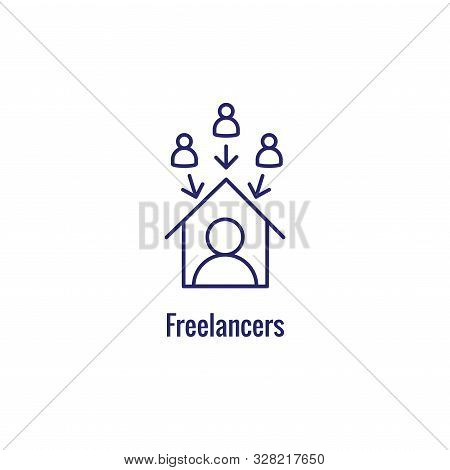 In-Company and Outsource Icon w freelancing or hiring imagery stock photo