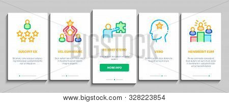 Human Talent Onboarding Mobile App Page Screen Vector Thin Line. Idea And Target, Diamond And Star, Signer, Speaker And Actor Talent Concept Linear Pictograms. Contour Illustrations stock photo