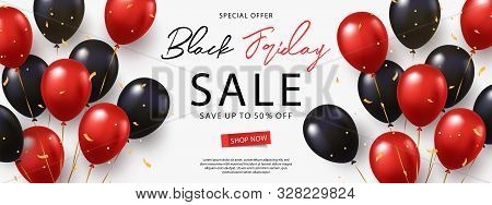 Black Friday Sale Banner, Poster Or Flyer Design With Black And Red Helium Balloons On White Backgro