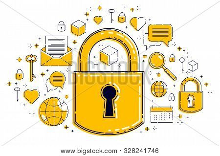 Padlock lock surrounded by different icons set, internet protection concept, antivirus or firewall, data protection personal account password, vector design. stock photo