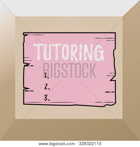 Conceptual hand writing showing Tutoring. Business photo showcasing An act of a demonstrating employed to administer knowledge to someone Wooden plank slots grooves wood panel colored board lumber. stock photo