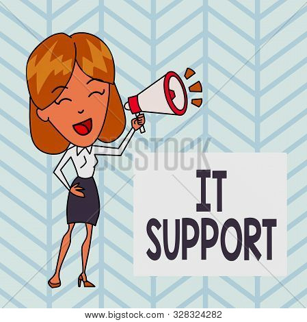 Word writing text It Support. Business concept for Lending help about information technologies and relative issues Young Woman Speaking into Blowhorn Volume Icon Colored Backgdrop Text Box. stock photo