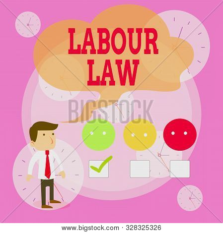 Writing note showing Labour Law. Business photo showcasing Rules implemented by the state between employers and employee White Questionnaire Survey Choice Satisfaction Green Tick. stock photo