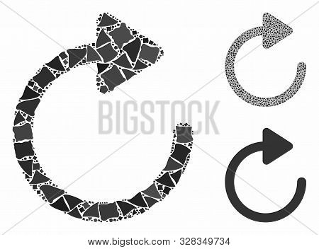 Rotation composition of joggly pieces in various sizes and color tones, based on rotation icon. Vector ragged pieces are united into composition. Rotation icons collage with dotted pattern. stock photo
