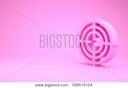 Pink Target sport for shooting competition icon isolated on pink background. Clean target with numbers for shooting range or shooting. Minimalism concept. 3d illustration 3D render stock photo