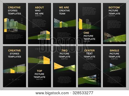 Creative social networks stories design, vertical banner, flyer template with architecture design. Abstract architectural background. Covers design templates for flyer, leaflet, brochure, presentation stock photo