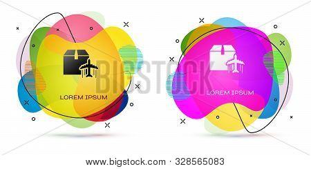 Color Plane and cardboard box icon isolated on white background. Delivery, transportation. Cargo delivery by air. Airplane with parcels, boxes. Abstract banner with liquid shapes. Vector Illustration stock photo