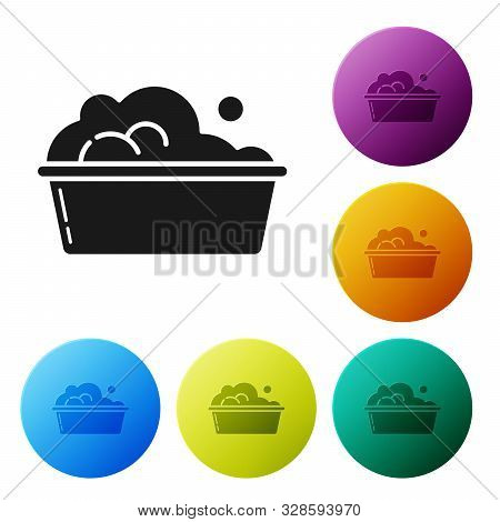 Black Plastic basin with soap suds icon isolated on white background. Bowl with water. Washing clothes, cleaning equipment. Set icons colorful circle buttons. Vector Illustration stock photo