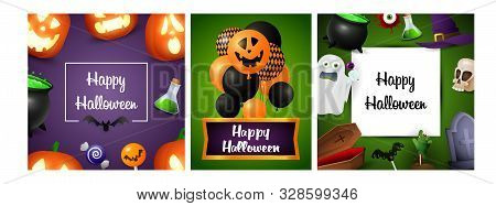 Halloween sale violet, green banner set with creepy balloons. Bat, pumpkin, pot. Lettering can be used for greeting cards, invitations, announcements stock photo
