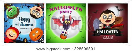 Halloween party banner set with monsters. Bat, pumpkin, pot. Lettering can be used for greeting cards, invitations, announcements stock photo