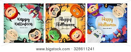 Halloween party banner set with various monsters. Bat, pumpkin, pot. Lettering can be used for greeting cards, invitations, announcements stock photo