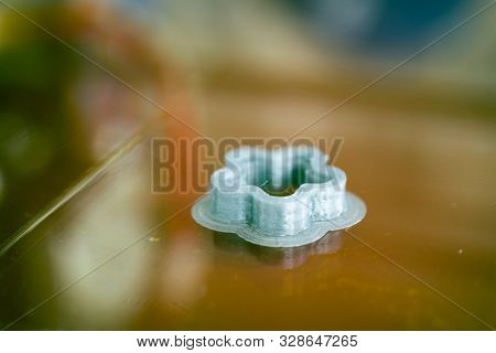 3D printed object on 3d printer bed stock photo