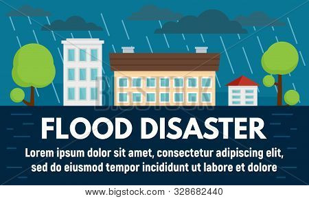 City flood disaster concept banner. Flat illustration of city flood disaster vector concept banner for web design stock photo