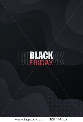 Black Friday sale banner. Vector design for sale flyers, product promotion, advertising, brochure, etc. Black cover with modern abstract gradient shapes. stock photo