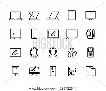 Devices line icons. Desktop computers, electronic devices and wearable gadgets, outline PC and smartphone pictograms. Vector set mobile device monitor laptop, tablet, cellphone, television and other stock photo