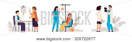 Doctor appointment. Cartoon blood donation in medical hospital scene, medical check up technology concept. Vector illustrative donor assistance template with nurse, men and woman stock photo