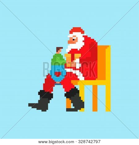 Santa and child pixel art. 8 bit Xmas. Pixelate New Year stock photo
