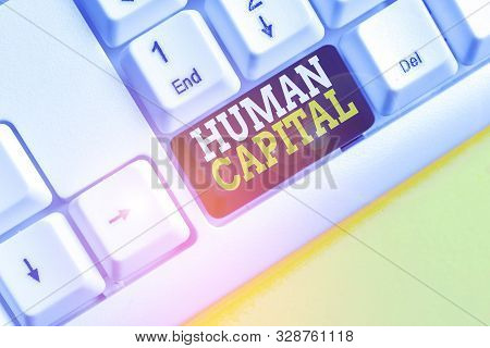 Word writing text Huanalysis Capital. Business concept for Intangible Collective Resources Competence Capital Education White pc keyboard with empty note paper above white background key copy space. stock photo