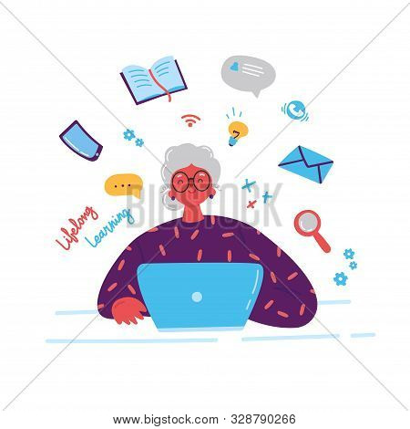 Lifelong learning, senior education.Older woman studying with a laptop.Ability to learn in each human age.Senior woman attending courses.Female student at a desk surrounded by study items.Illustration stock photo