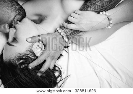 Sensual french kiss. Couple in love. I love you. Embrace and kiss. Couple in french kiss. Romantic and love. Intimate relationship and sexual relations. Sensual touch stock photo