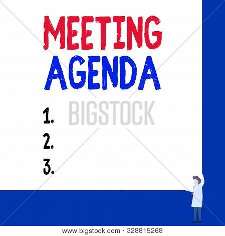 Conceptual hand writing showing Meeting Agenda. Business photo showcasing items that participants hope to accomplish at a meeting Professor wear white coat red tie hold board use two hands. stock photo
