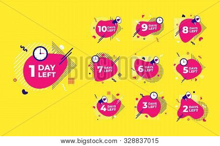 Sale countdown liquid abstract elements ten to one days left signs set vector illustration isolated symbol badge. Business date count with offer timer, limit offer concept. stock photo
