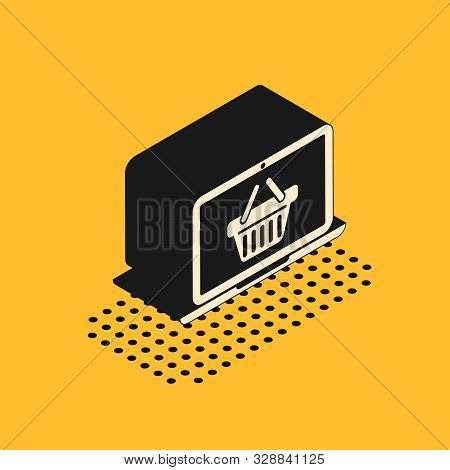 Isometric Shopping basket on screen laptop icon isolated on yellow background. Concept e-commerce, e-business, online business marketing. Vector Illustration stock photo