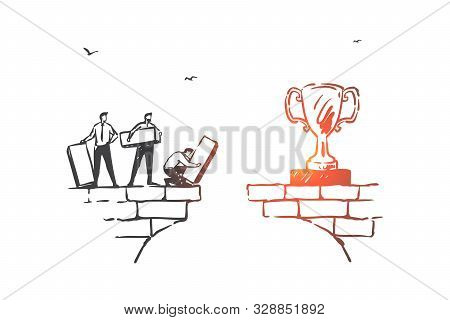 Teamwork, partnership and achieving goals concept sketch. Business people building bridge to reach trophy cup, cooperation and success building metaphor. Hand drawn isolated vector stock photo