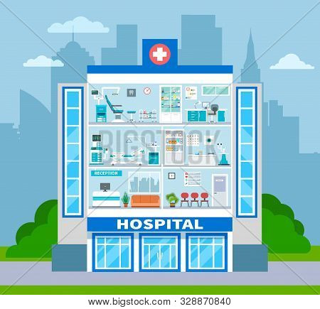 Hospital section. Empty doctor office, waiting examination room and surgery interiors in cross section. Healthcare vector concept. Medical interior hospital, clinic healthcare office illustration stock photo