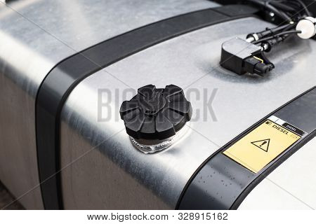 Tank with diesel fuel of a truck. Fuel economy concept while driving, modern fuel economy system, copy space stock photo