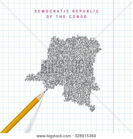 Democratic Republic Of The Congo Sketch Scribble Map Drawn On Checkered School Notebook Paper Backgr