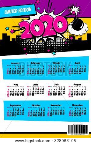2020 colored calendar pop art vector style. 2020 New Year speech bubble background. Colored number calendar monthly planner. 2020 schedule pop-art planner. stock photo
