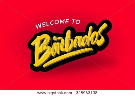 Welcome to Barbados modern brush lettering text. Vector illustration logo for business, print and advertising stock photo