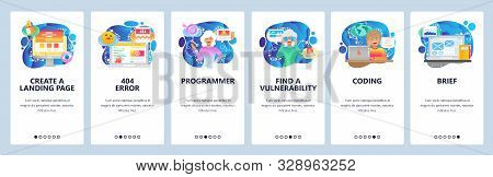 Mobile app onboarding screens. 404 error message, female software engineer, coding, search vulnerability. Vector banner template for website and mobile development. Web site design flat illustration stock photo