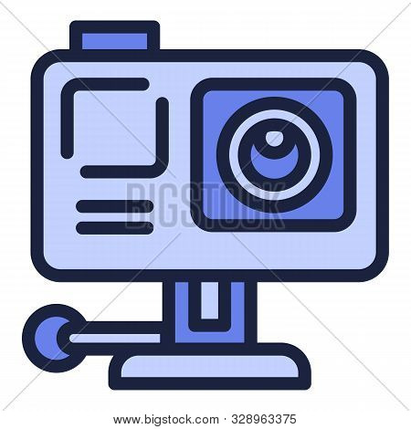 Action camera icon. Outline action camera vector icon for web design isolated on white background stock photo