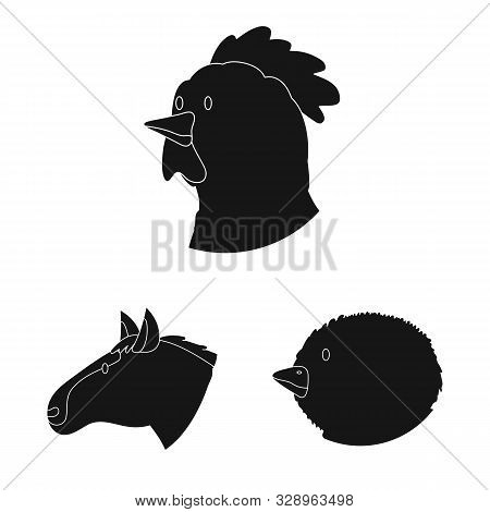 Isolated object of ranch and organic icon. Collection of ranch and head stock vector illustration. stock photo