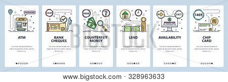 Mobile app onboarding screens. Banking icons, ATM, cheques, chip credit card, money loan. Menu vector banner template for website and mobile development. Web site design flat illustration stock photo